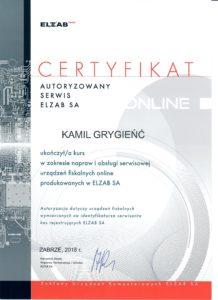ELZAB Certyfikat Kasy fiskalne Online Warszawa